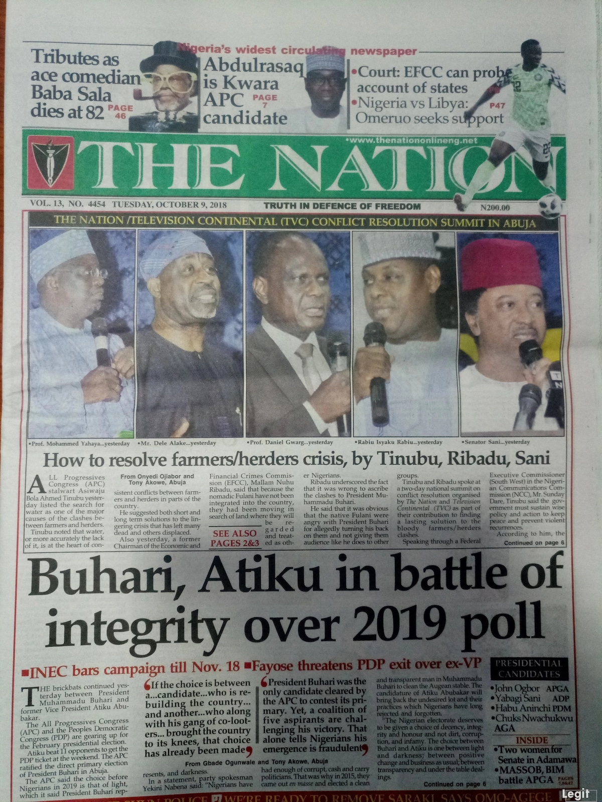 Newspaper review: Tinubu, Ribadu, Sani reveal how to resolve farmers/herders crisis