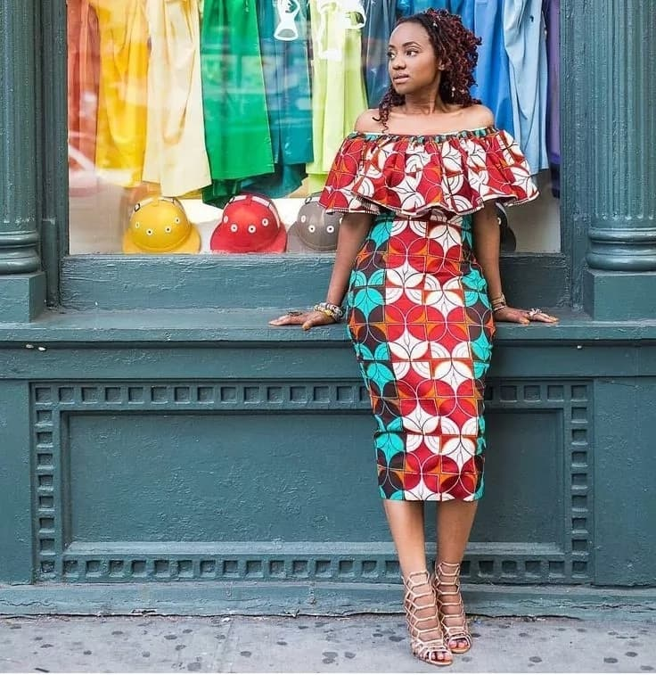 Latest Ankara straight gowns - off-shoulder