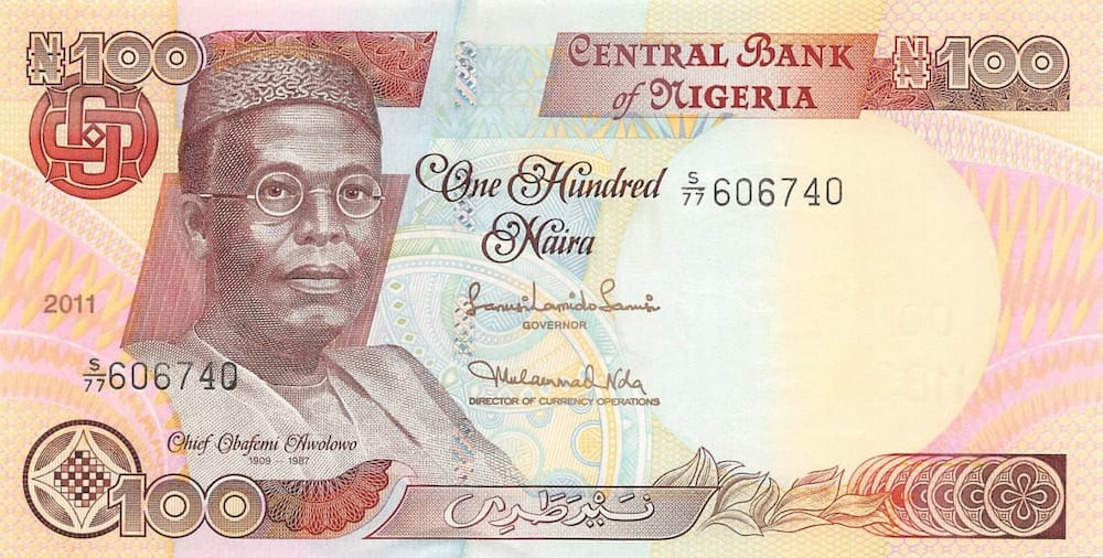 100 Naira with the picture of Chief Obafemi Awolowo