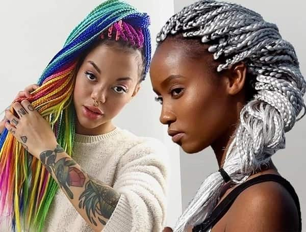 Braids hairstyles with color