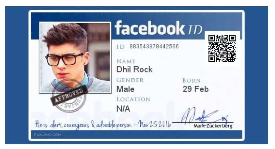 Facebook ID card: apply online