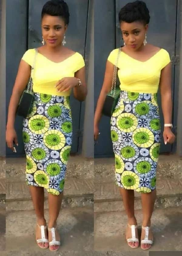 Ankara straight gown with one colored top