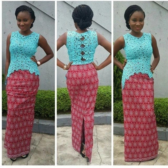 Ankara straight gowns with lace