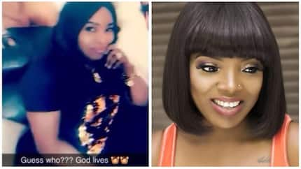 Halima Abubakar recovers after successful fibroid removal surgery, pictured on set with Annie Idibia (photos)