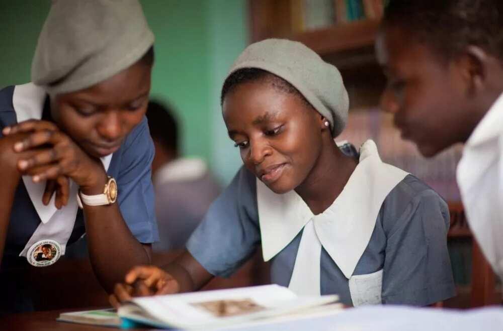 Nigerian students reading