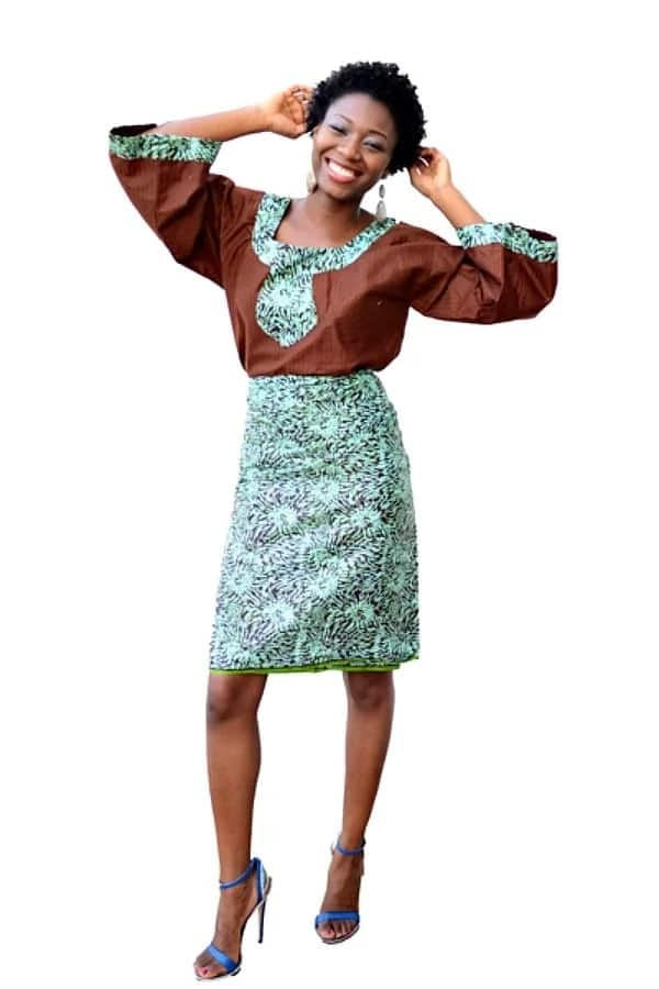 Latest Ankara blouse and wrapper styles - rectangular neckline