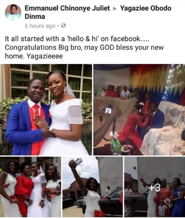 Young lady congratulates her newly married big brother, says the relationship started with a 'hello & hi' on Facebook