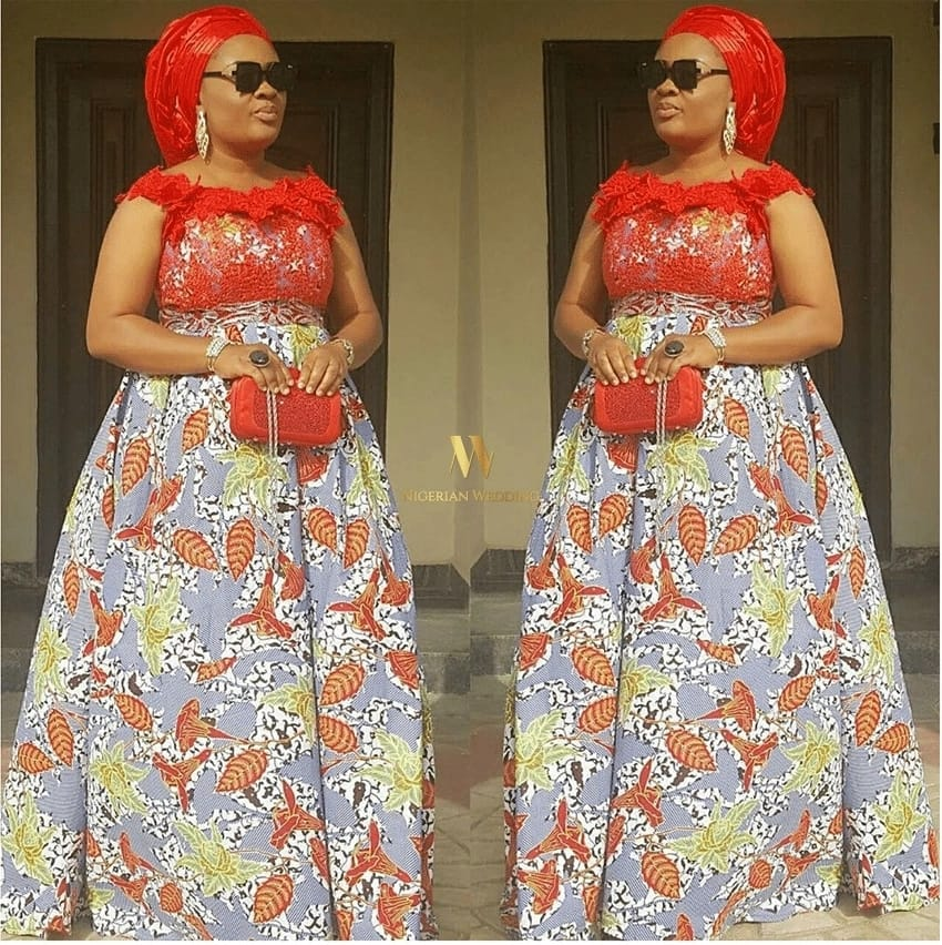 Ankara long gown with red lace decor