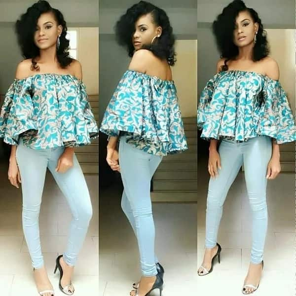 40b8a472aceb07 Off shoulder Ankara tops with jeans in 2018 ▷ Legit.ng