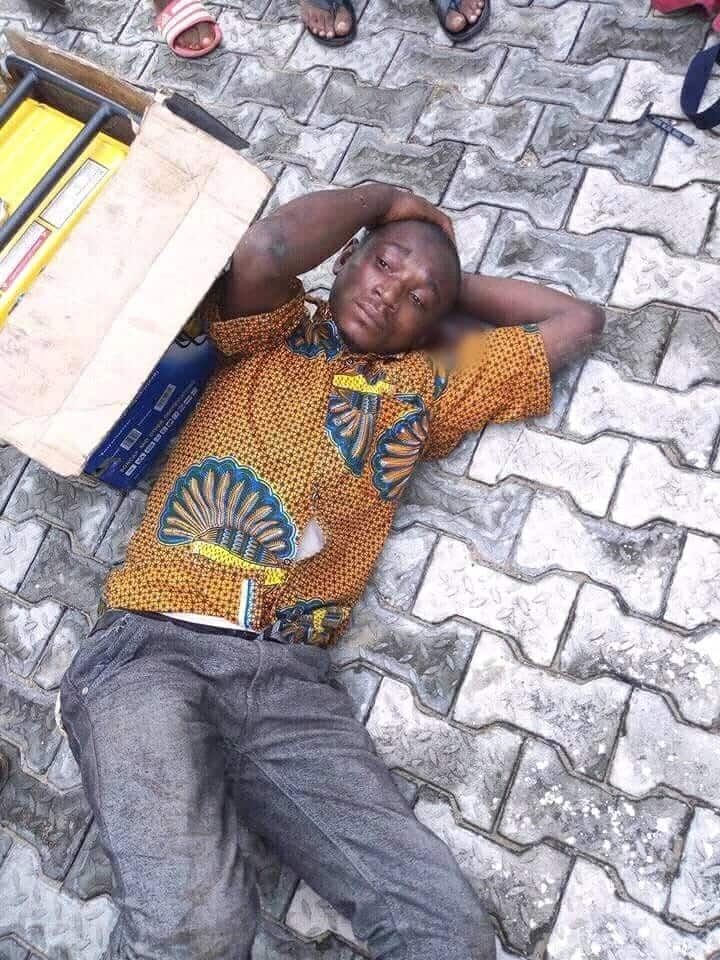 Generator thief caught and beaten mercilessly in Port Harcourt (photos)