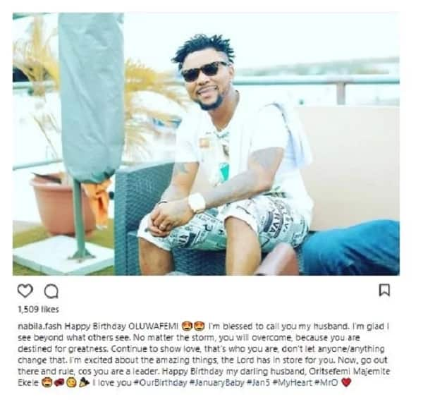 """""""I'm Glad I See Beyond What Others See"""" – Oritsefemi's Wife Celebrates Him On His Birthday."""