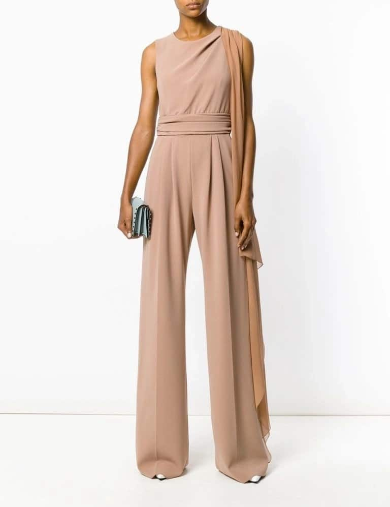 Evening jumpsuit with wide trousers