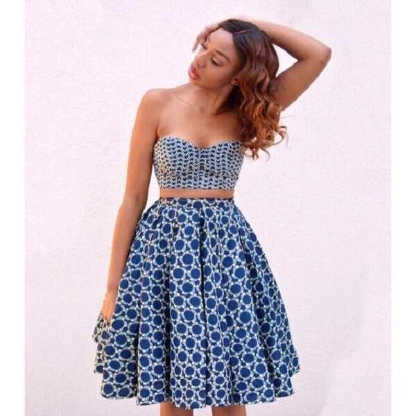 Ankara crop top and midi skirt