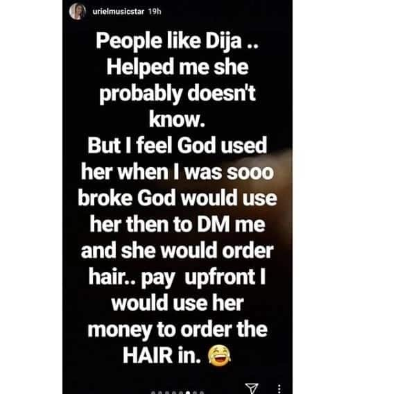 BBNaija's Uriel shares how God used Mavin singer Dija to lift her up when she was down