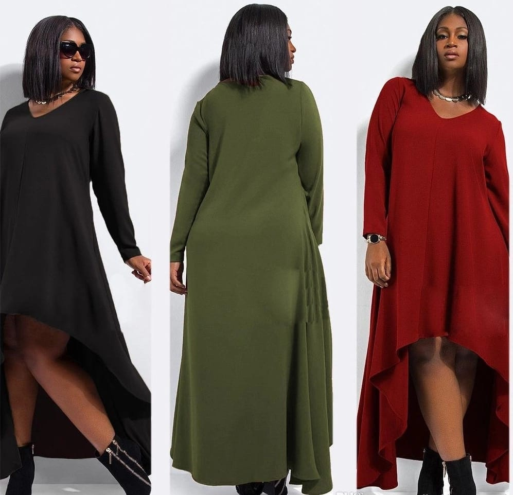 Plus size chiffon dresses with asymmetrical hem