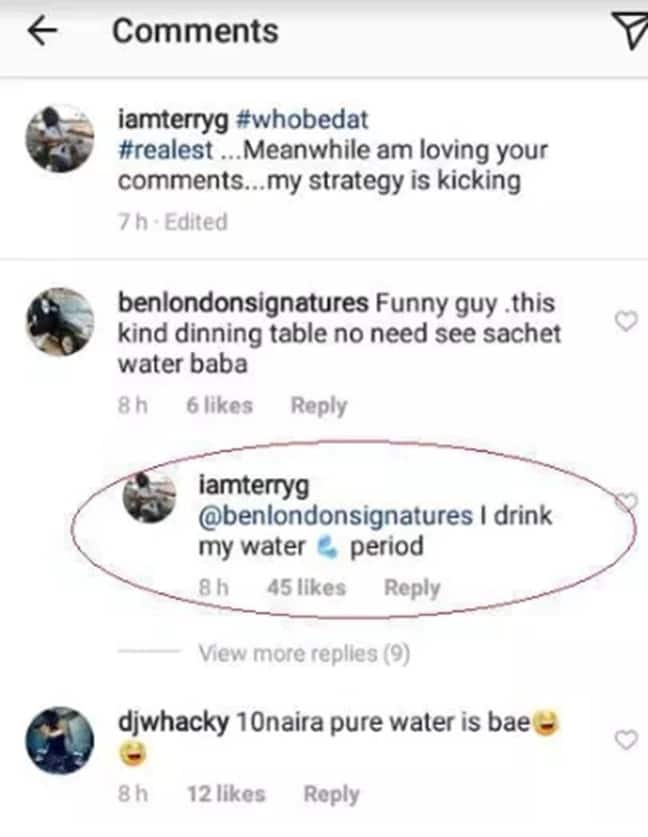 Terry G replies troll who mocked him for having sachet water on his dinning table