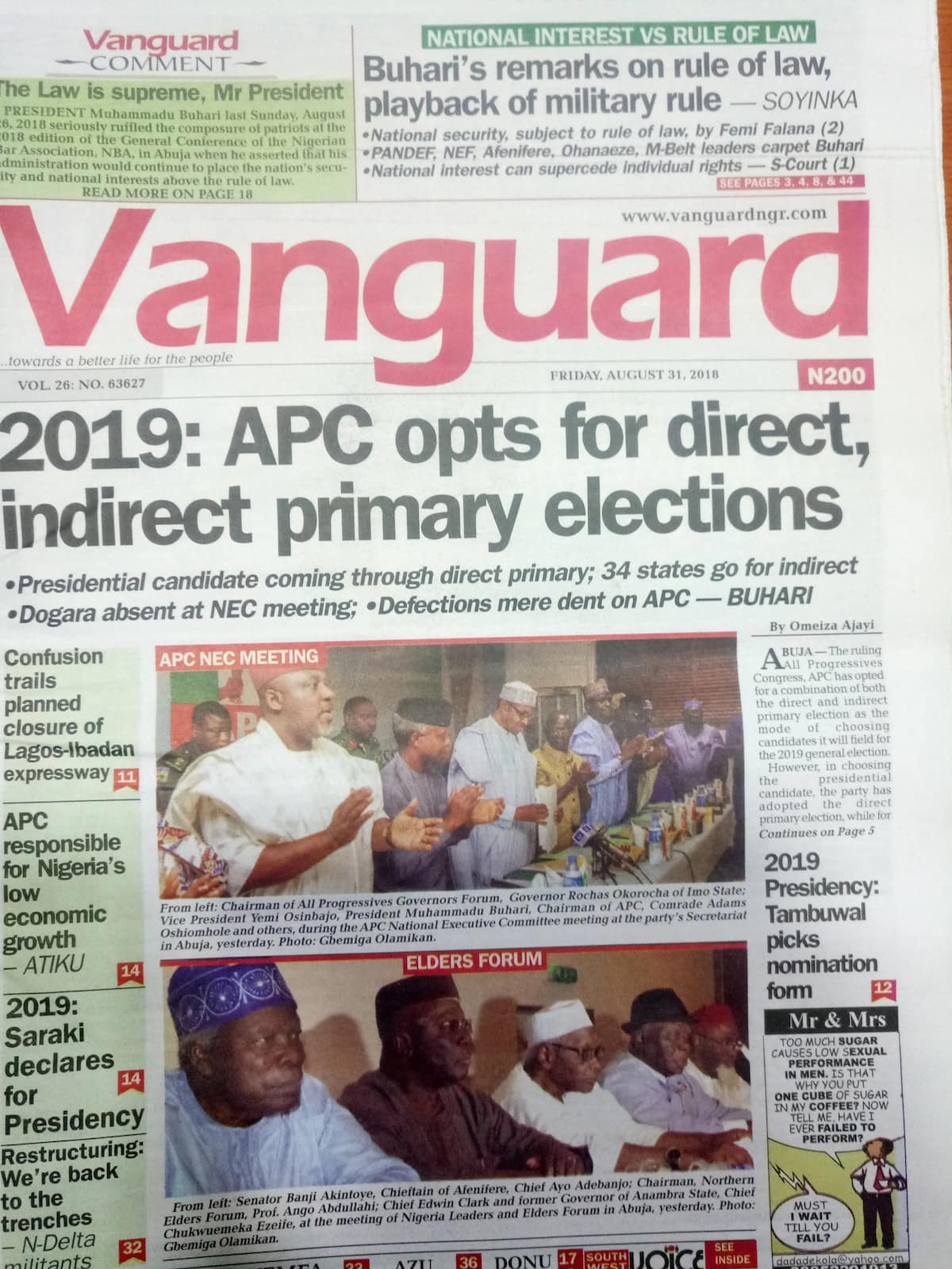 2019: APC finally settles on both direct, indirect primary for candidates (Newspaper Review)