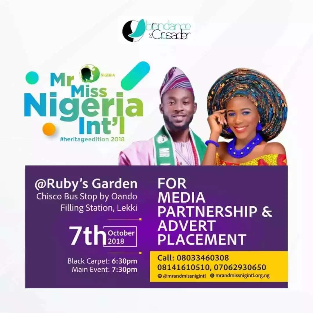 All is set for Mr and Miss Nigeria International 2018 - The heritage edition