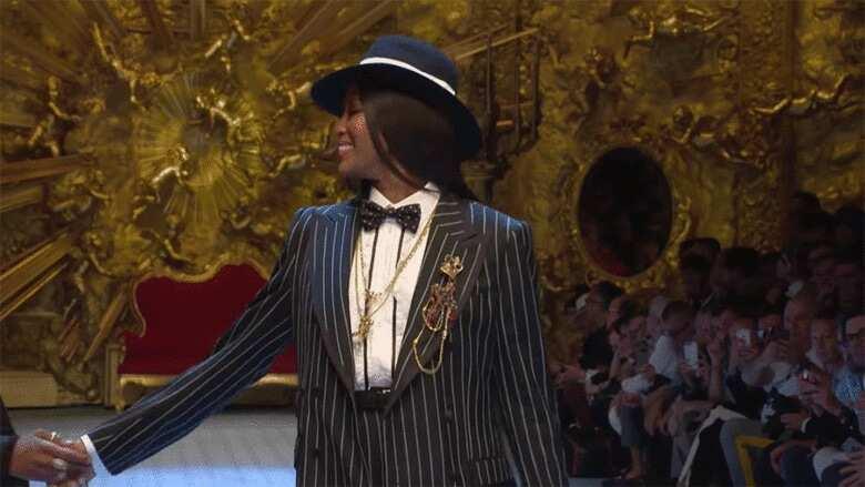 Wizkid Dolce and Gabbana runway in Milan