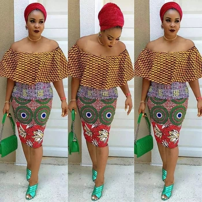 Ankara top without straps and pencil skirt