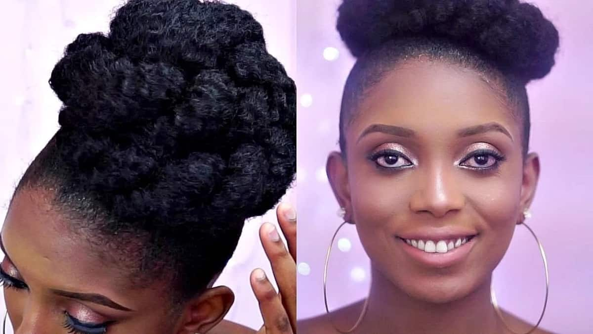 How to pack natural hair in a bun