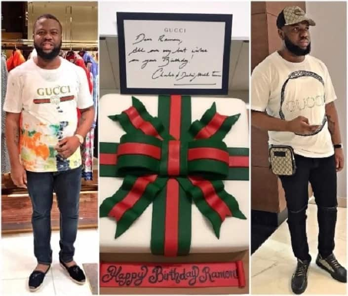 Ray Hushpuppi and the cake from Gucci