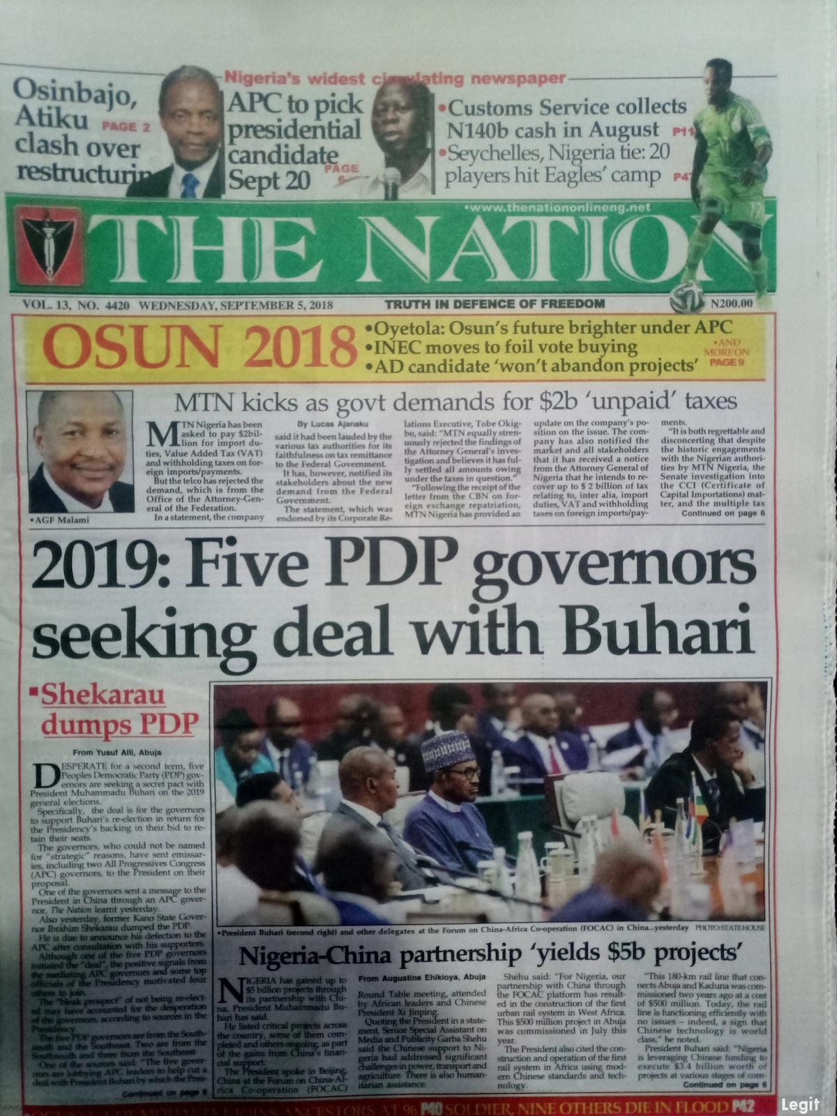 The Nation newspaper review for Wednesday, September 5.