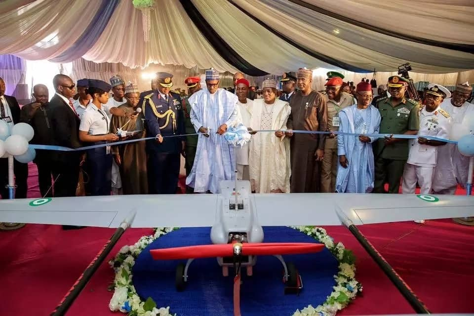 President Buhari commissioned an Unmanned Aerial Vehicle (UAV) built by the Nigerian Air Force. Credit: Sodiq Adelakun