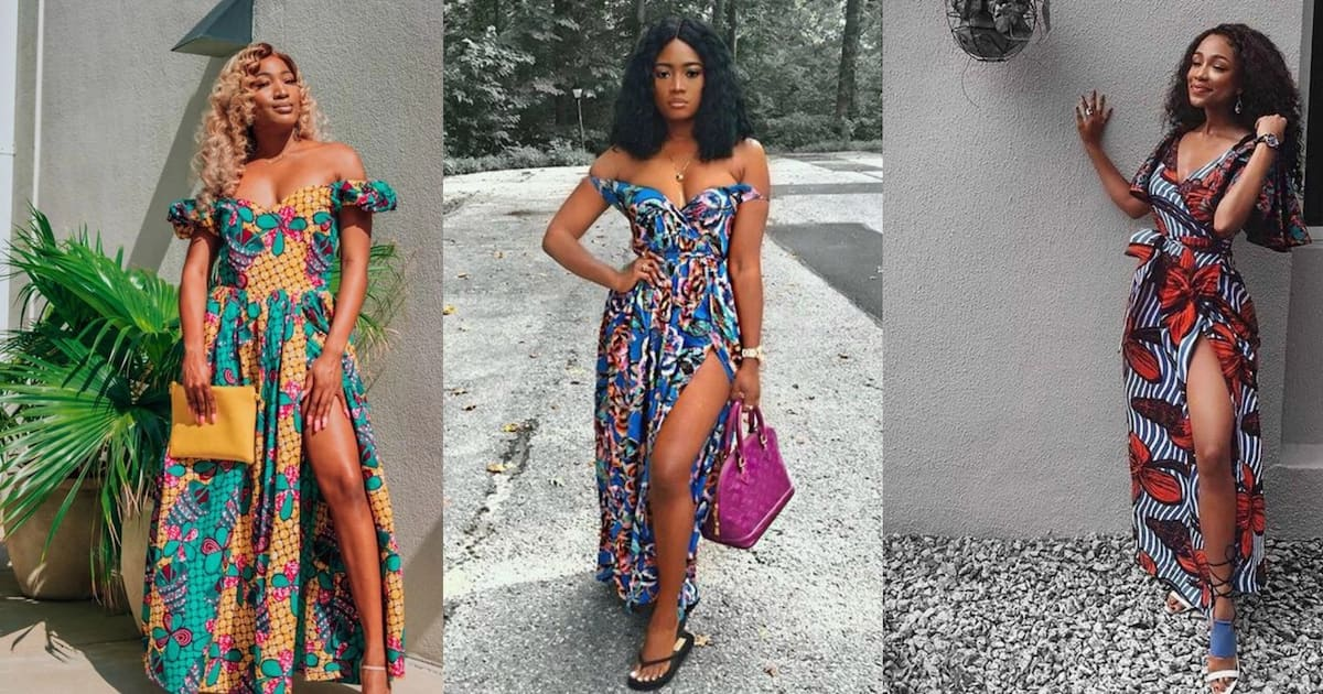Ankara long gown with a high fit