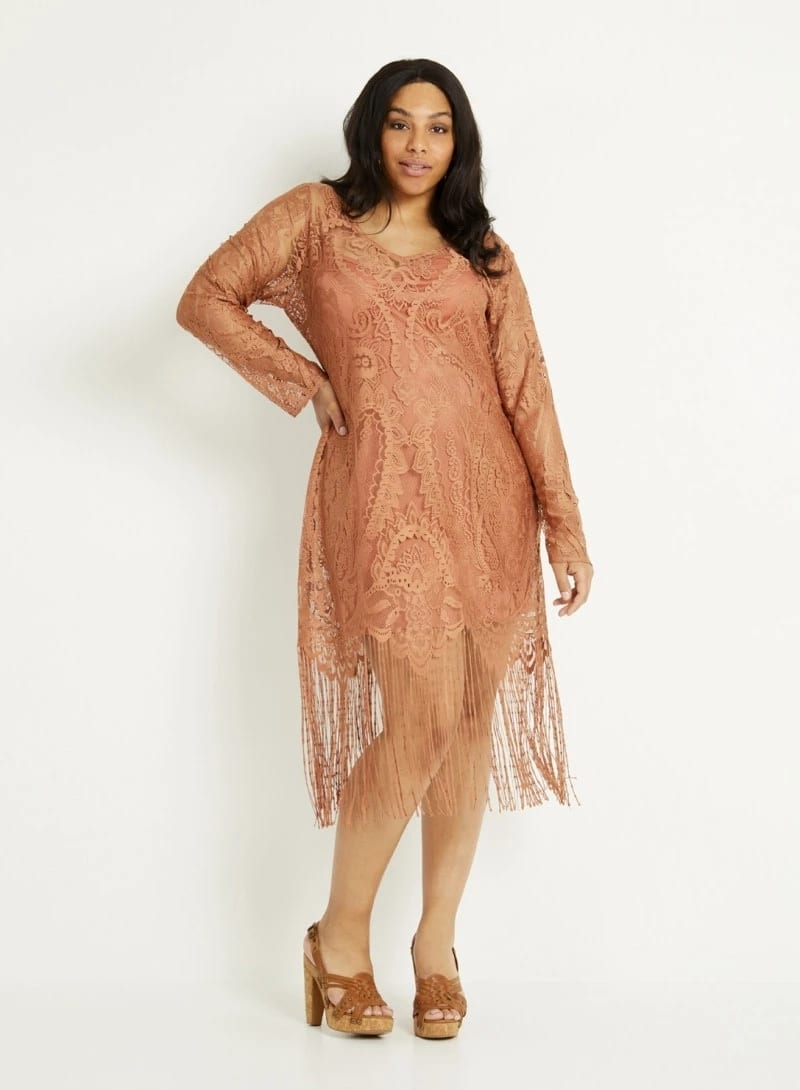 French lace gown for plus size lady
