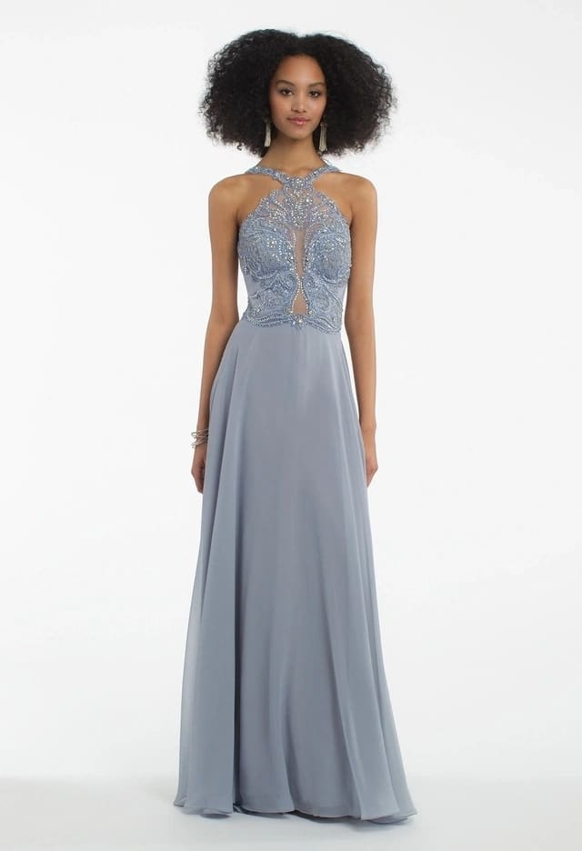 Maxi chiffon gown with lace