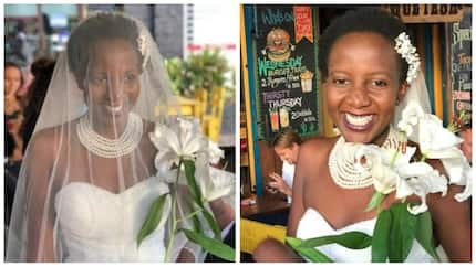 Ugandan lady marries herself out of pressure from family to settle down (photos)