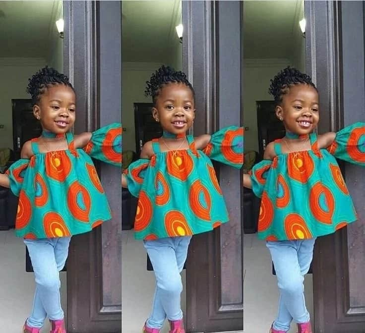 Ankara flared top with open shoulders
