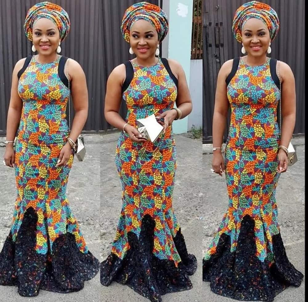 Latest Ankara long gown with black details