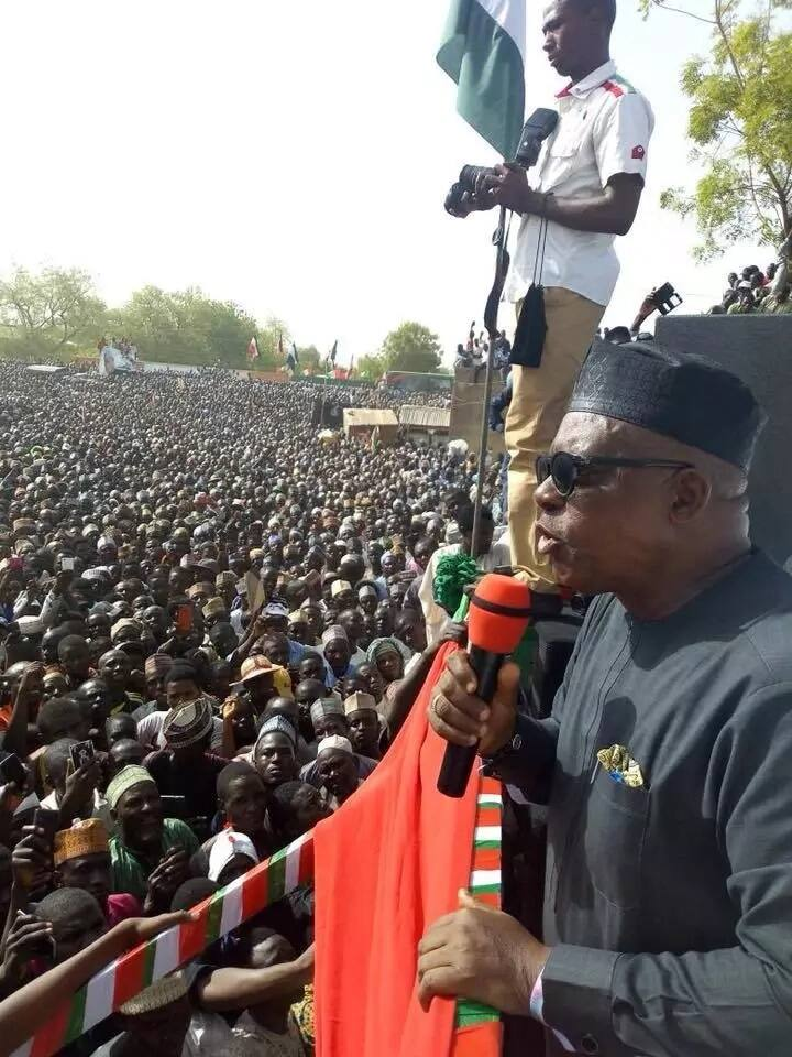 Party chairman, Uche Secondus, addressing the crowd. Photo source: Governor Dankwambo
