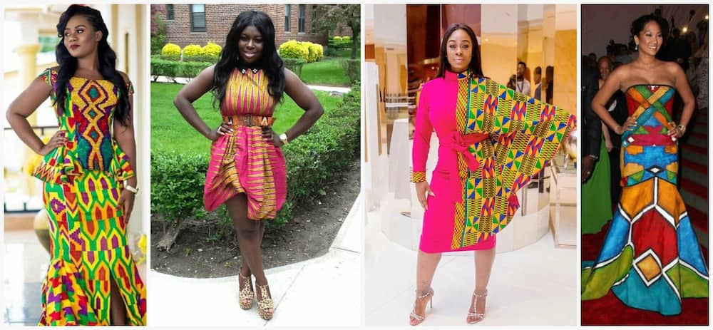 b6b34d7bfff5f Kente African designers create different African dresses styles for  weddings using the Kente