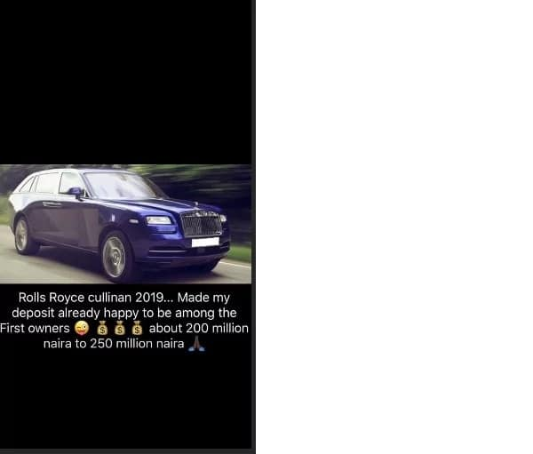 Just months after buying Rolls Royce Wraith 2018, big boy Mompha deposits N200m for 2019 edition