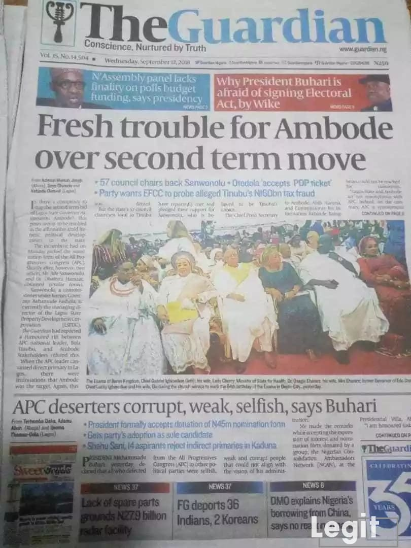 The Guardian newspaper of Wednesday, September 12