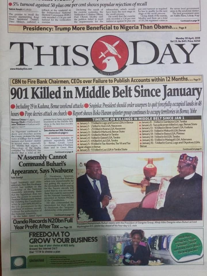 Newspaper headlines for Monday, April 30