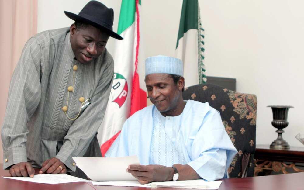 Late President Musa Yar'adua and former President Goodluck Jonathan