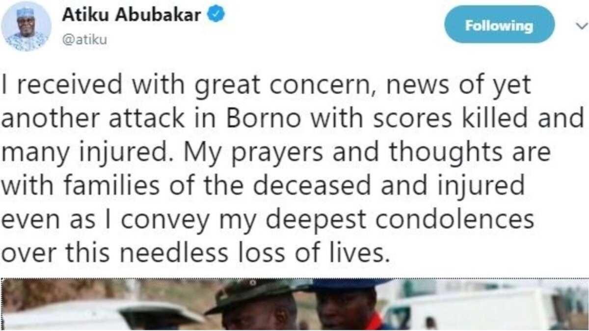 Atiku reacts as female bombers hit Borno village, killed 31
