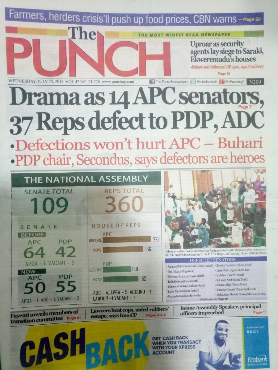 Punch newspaper for Wednesday, July 25. Photo credit: snapshot from Legit.ng.