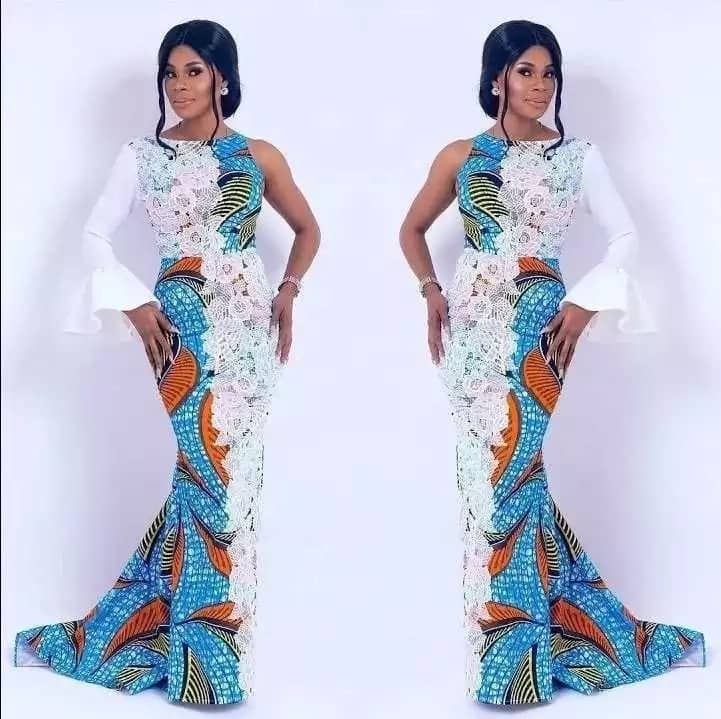 Ankara gown with white lace