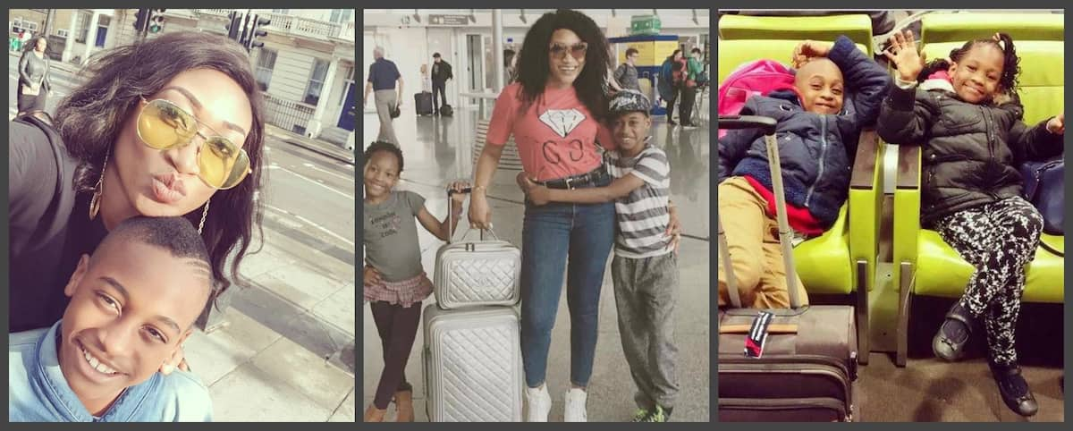 Nigerian actress Oge Okoye and her kids