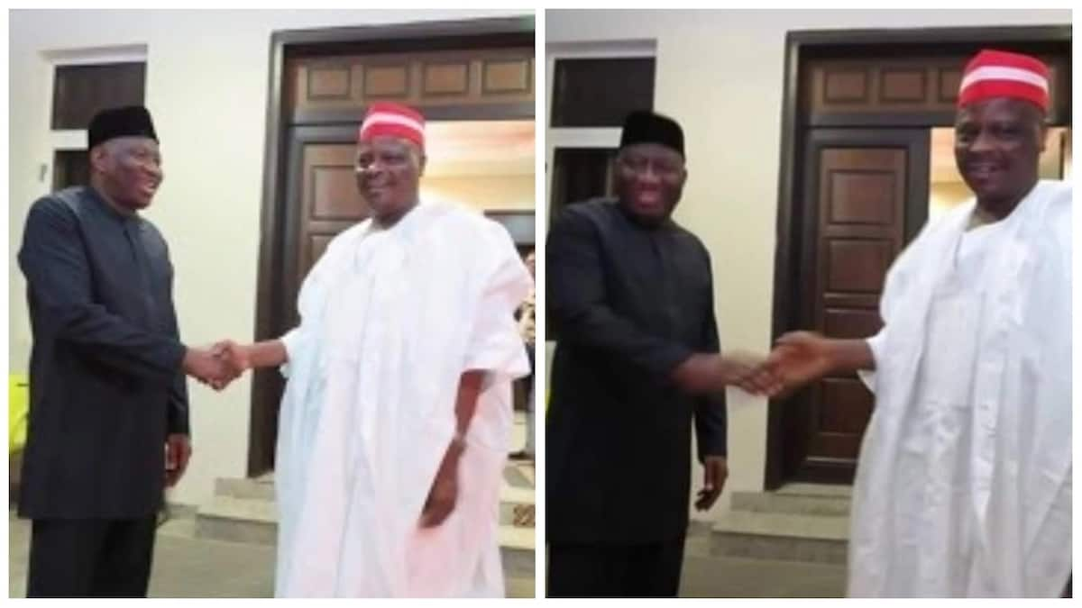 Kwankwaso meeting with Goodluck Jonathan. Photo source: Trezzyhelm