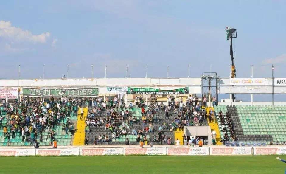 Denizlispor's fan hired a crane to watch his side play in Turkey