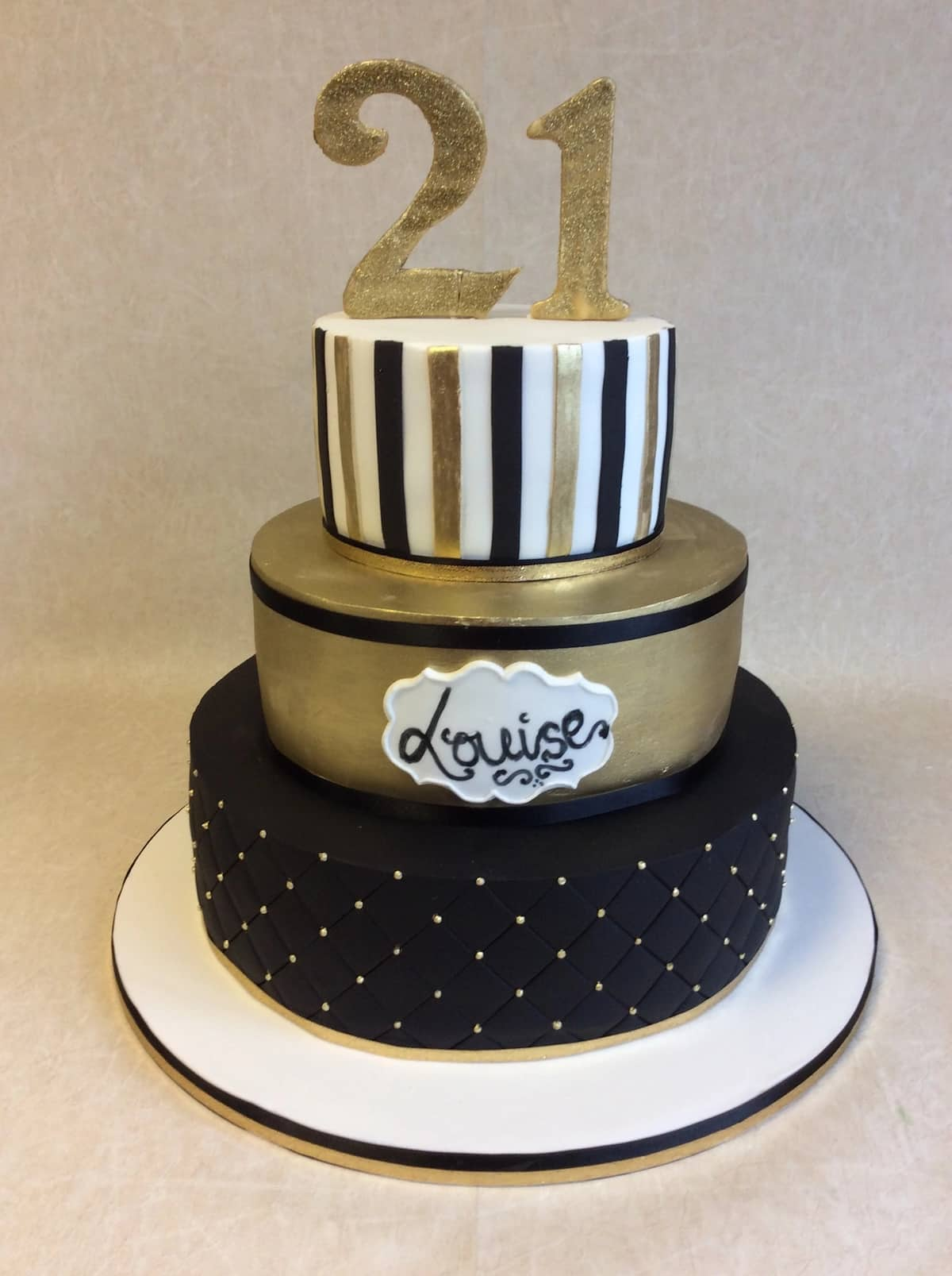 birthday cakes with golden elements