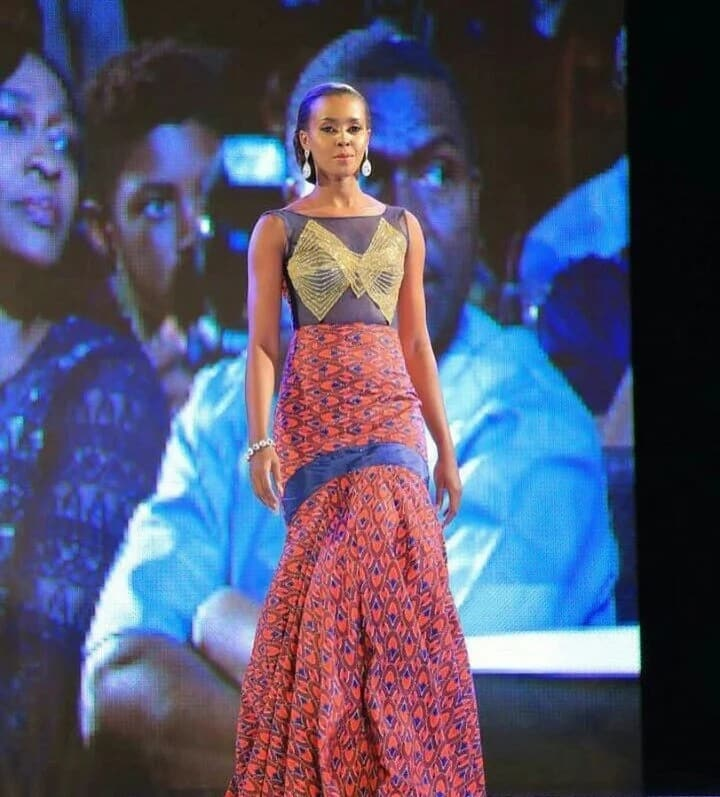 Ankara gown with decor (photo from Miss Africa 2017)