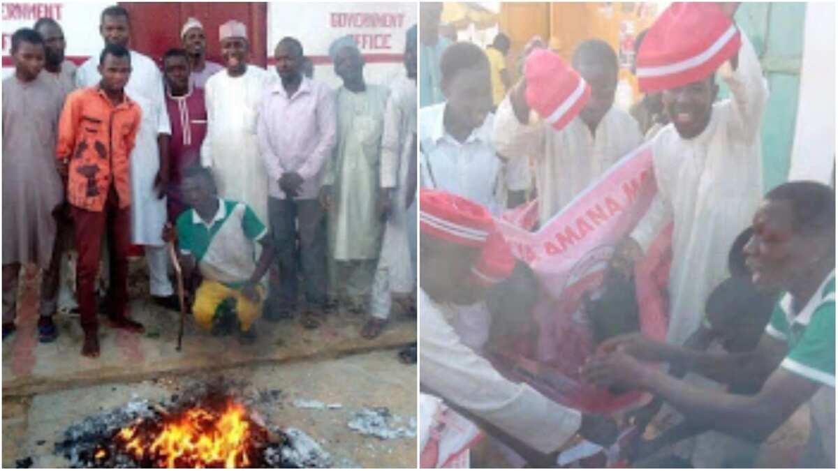 Supporters burning their Kwankwasiyya's caps. Photo source: Suanu's blog