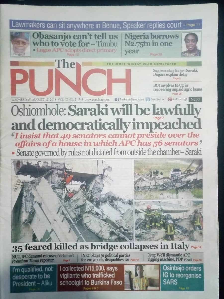 Punch newspaper for Wednesday, August 15. Photo credit: Snapshot from Legit.ng.
